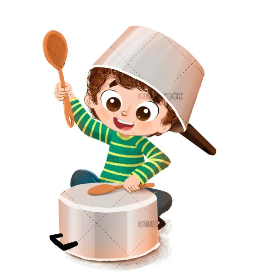 Child in the kitchen with saucepans doing the crazy
