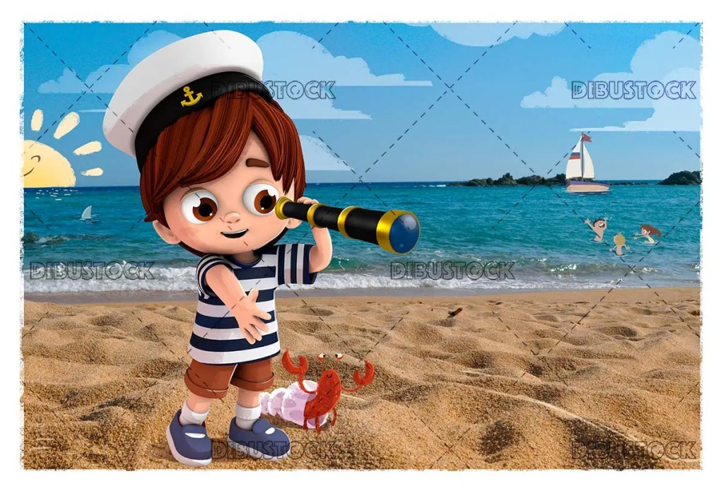 Child on the beach with a spyglass 1