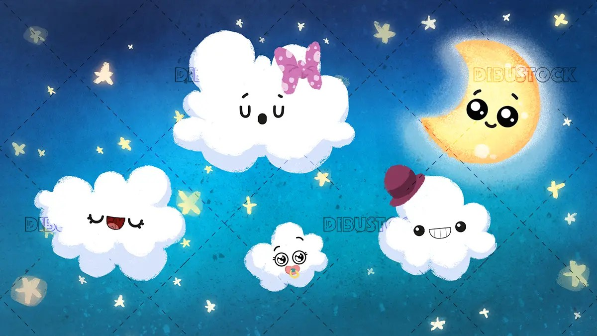 Childrens night sky with clouds stars and moon