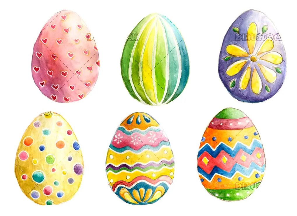 Easter eggs in watercolor