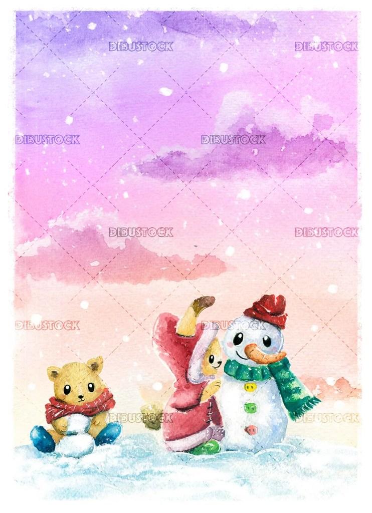 Friends making a snowman