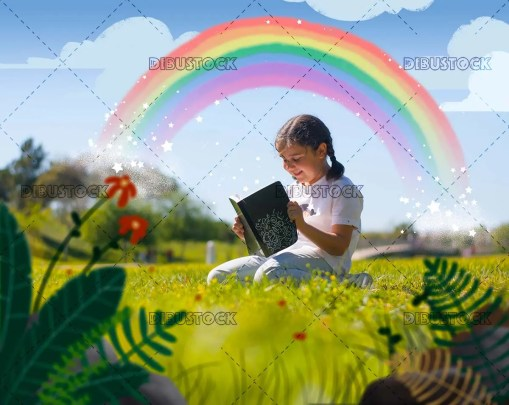 Girl reading a book with rainbow