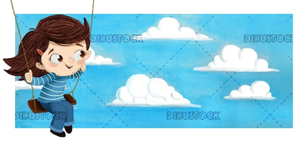 Girl swinging over the clouds. Playing outdoors