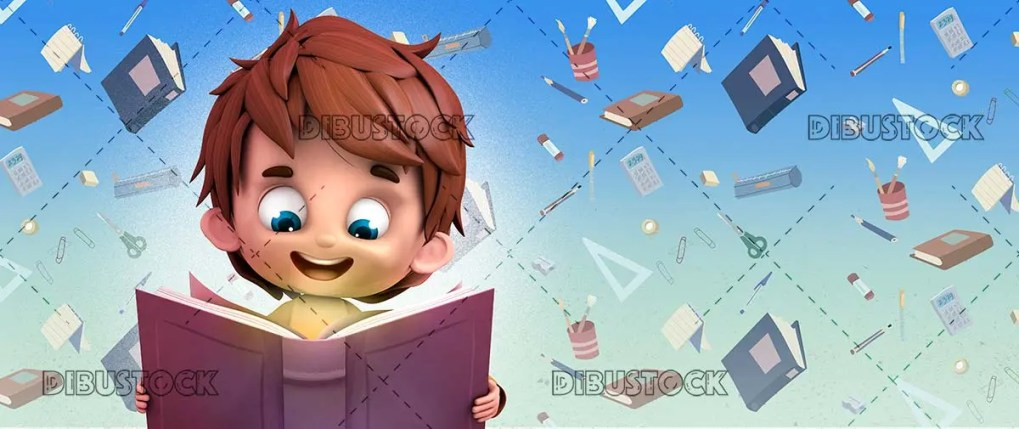 Happy boy reading a book at school
