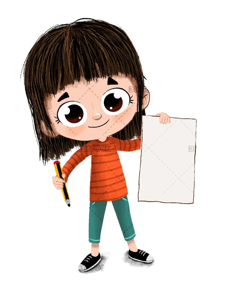 Little girl with a sheet and a pencil teaching something