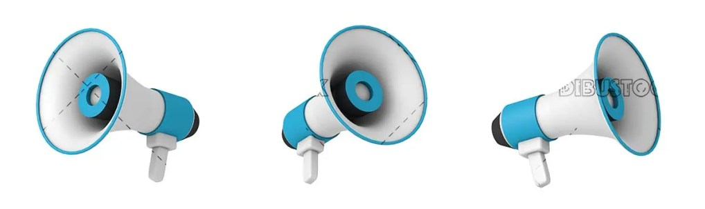 Megaphones or speakers different views