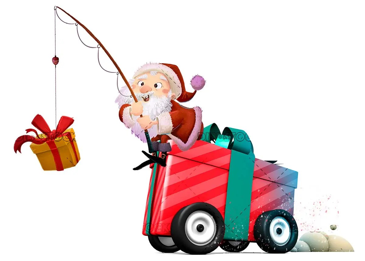 Santa Claus with gift of wheels