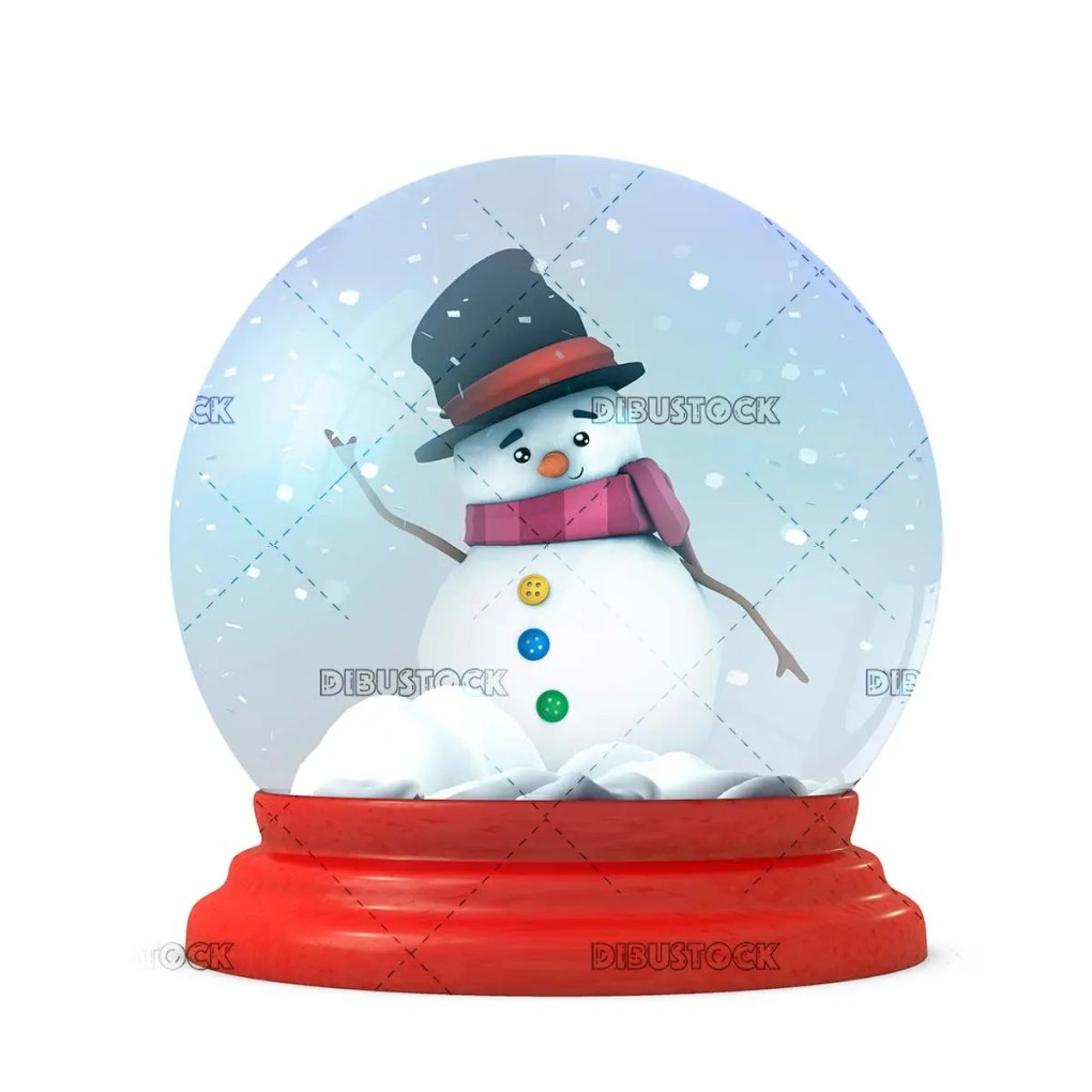 Snowman in snowy glass ball