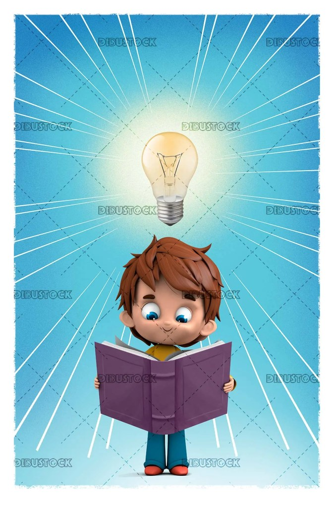 boy reading with light bulb
