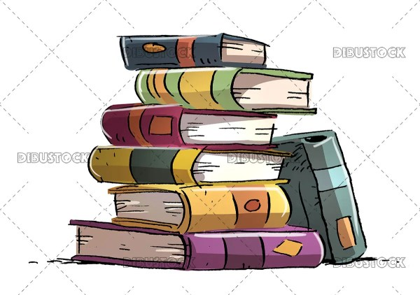 Heap of stacked books