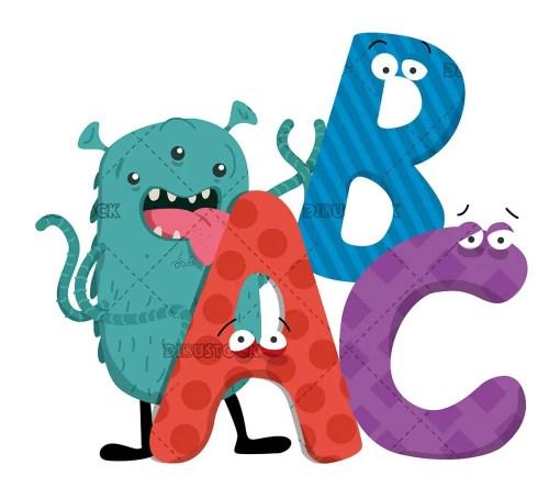 Alien Monster letters ABC