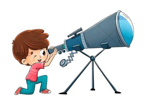 Boy looking through a telescope into space