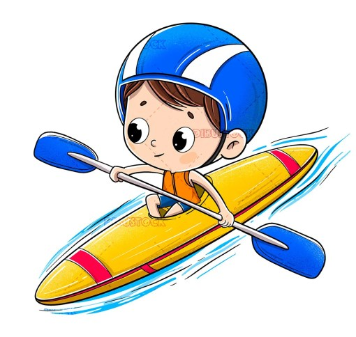 Boy riding in a canoe with a helmet