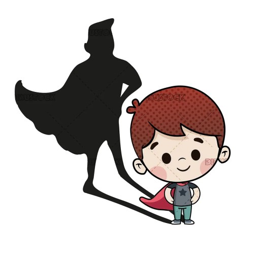 Brave boy with shadow of Superhero