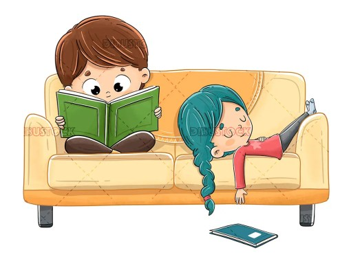 Children reading on the couch