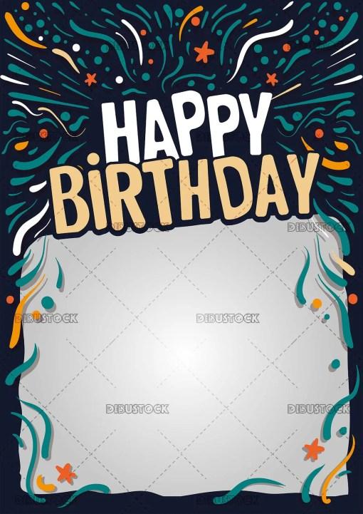 Happy birthday postcard or blackboard with dark background