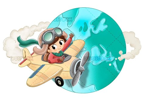 Little girl riding a toy plane circling the world