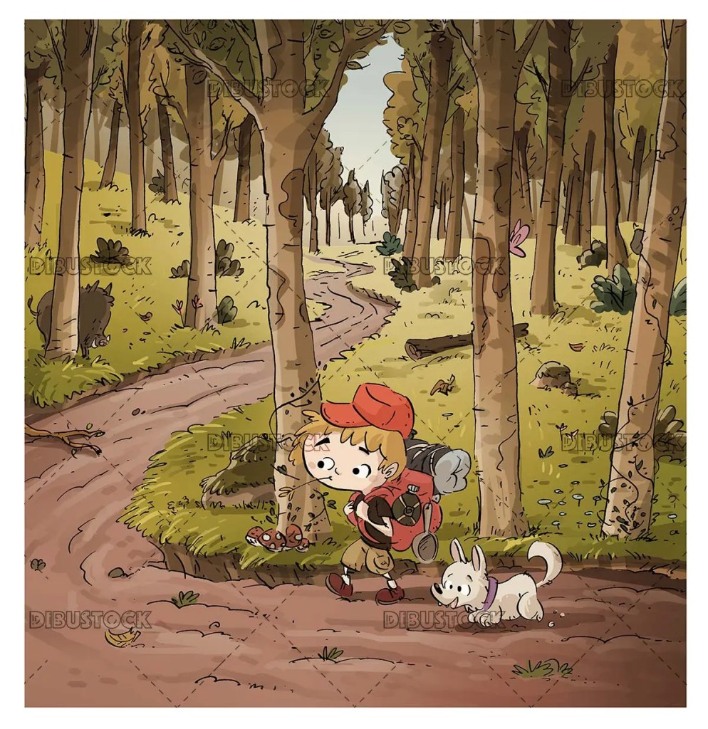Boy and dog hiker entering the forest