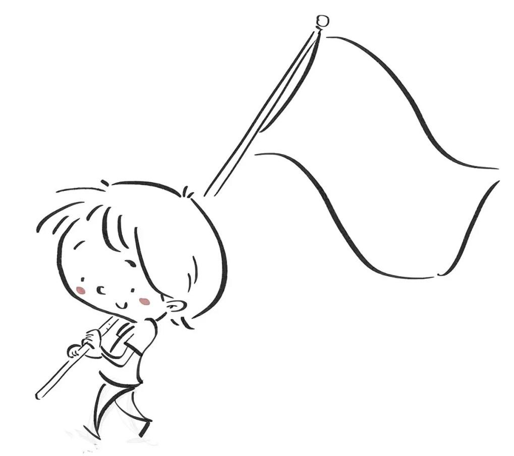 Boy carrying a flag. Black line