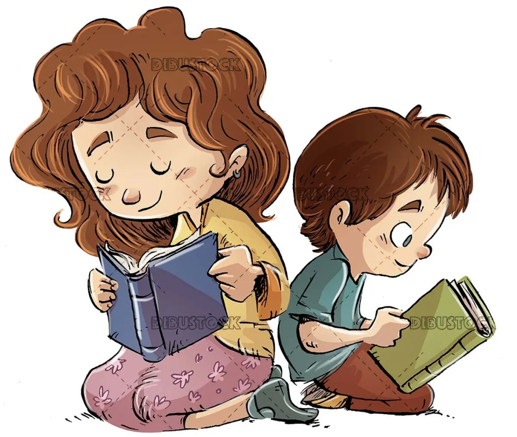 boy and girl sitting reading a books leaning on each other