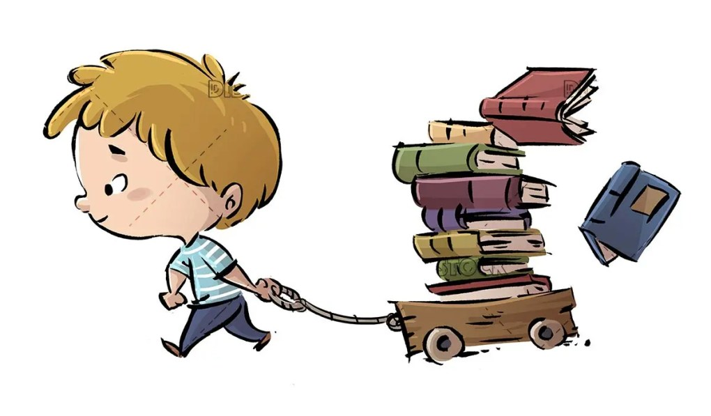 boy carrying a wheelbarrow with many books