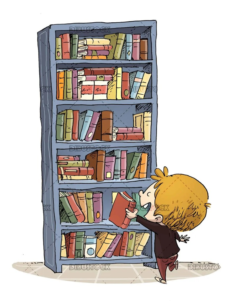 boy catching a book from a bookshelf full of books