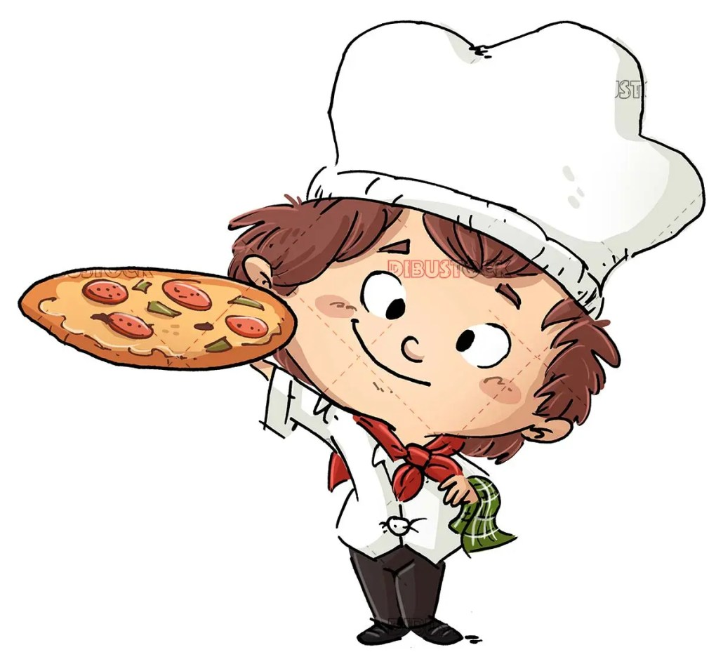 boy cook with pizza in hand