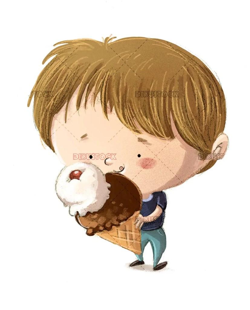 boy eating a giant ice cream