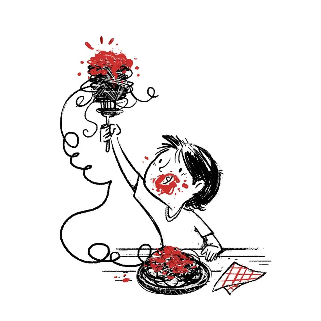 boy eating spaghetti while playing