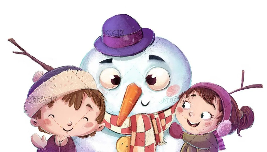 boy face and snowman with isolated background