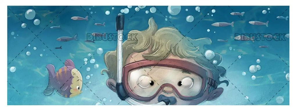 boy face with glasses diving under the sea 1