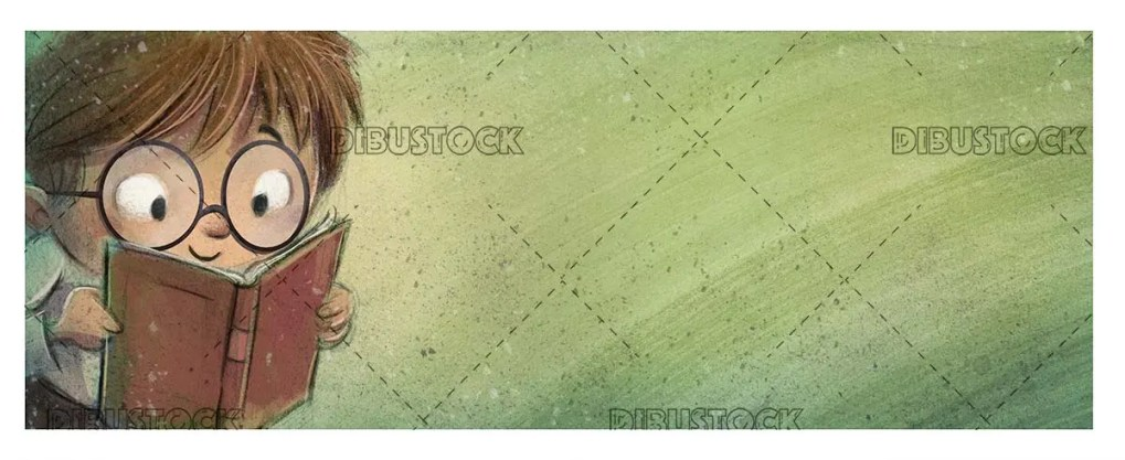 boy face with glasses reading on green textured background
