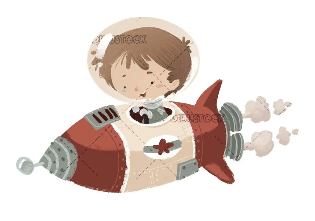 boy in spacesuit driving a rocket on isolated background