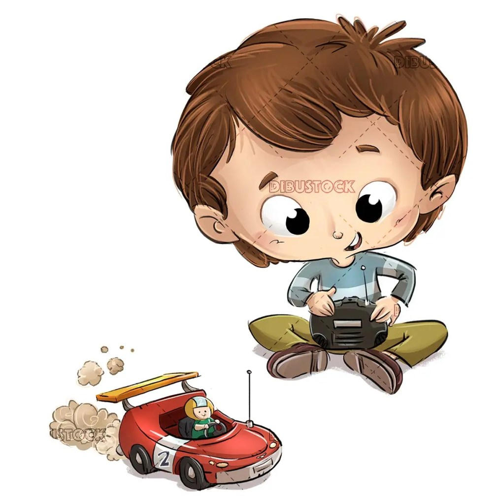 boy playing with remote control car