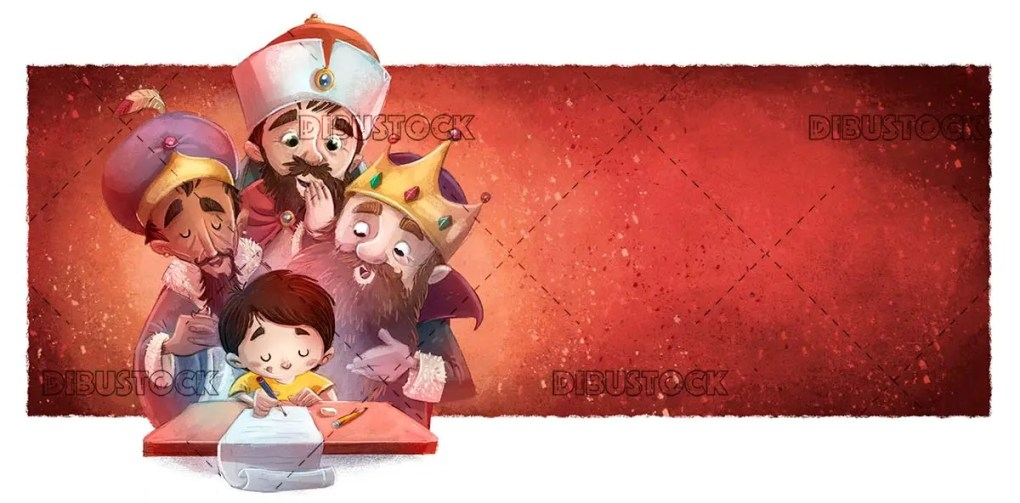 boy writing a letter with the magic kings behind and a red background