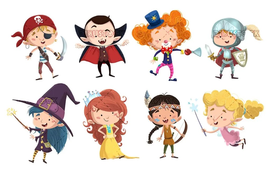 concepts of children with different costumes
