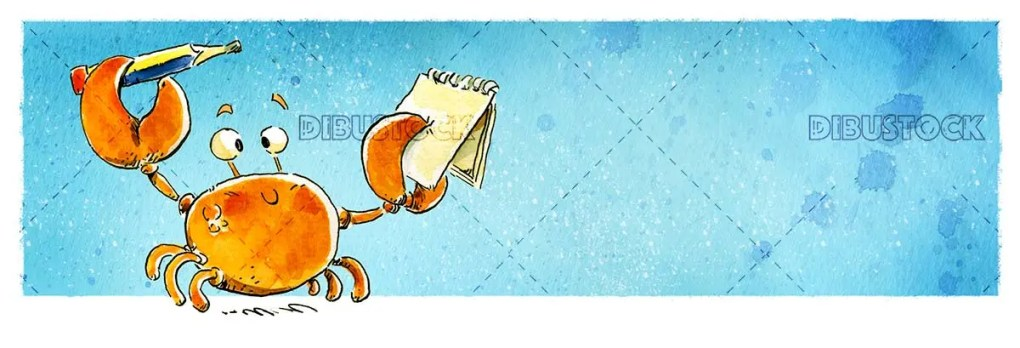 crab with pencil and notebook with blue background
