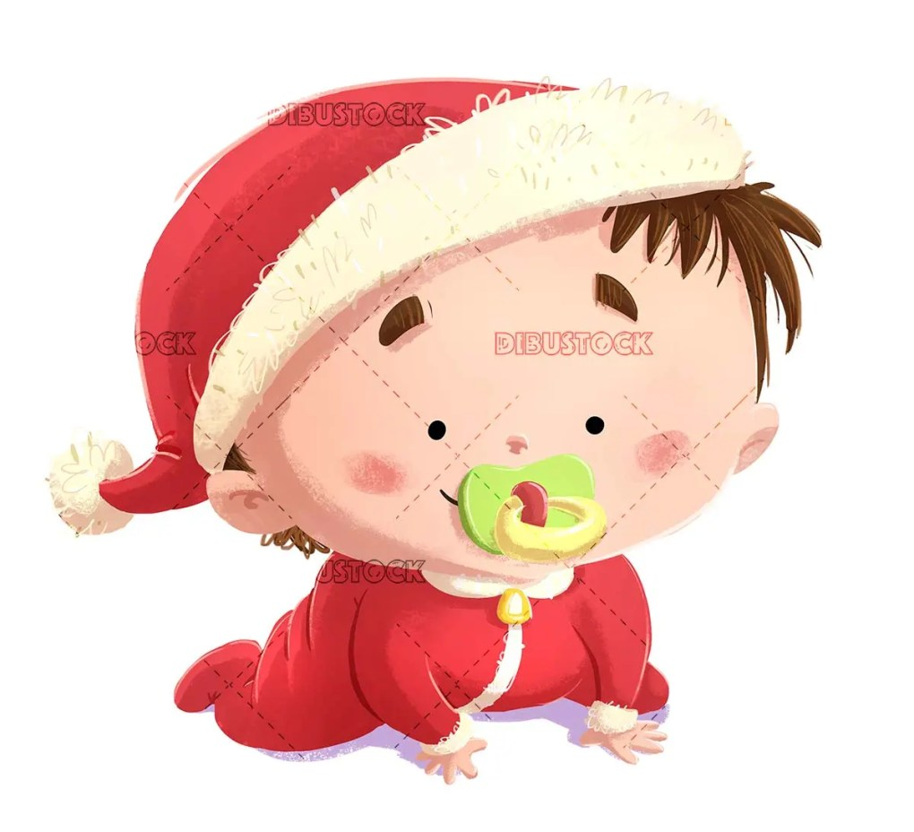 happy baby with pacifier and santa claus costume at christmas