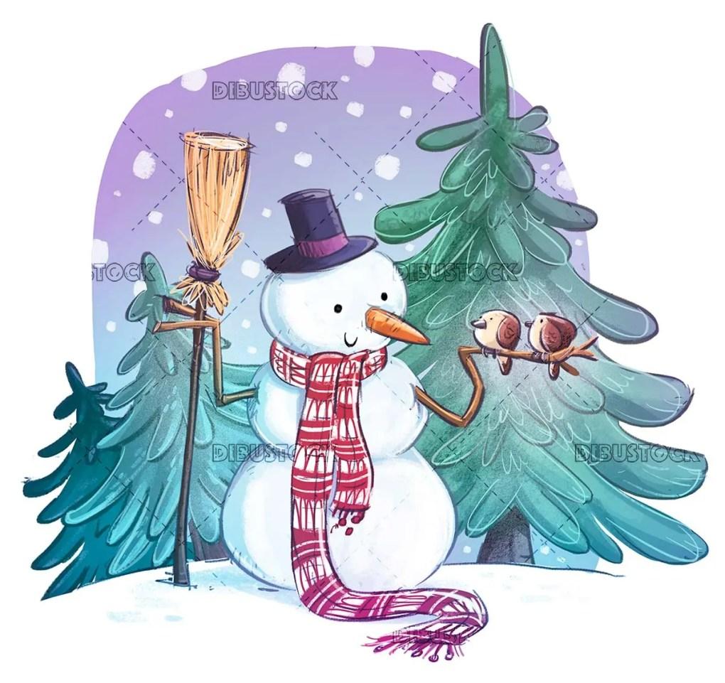 nice snowman with birds