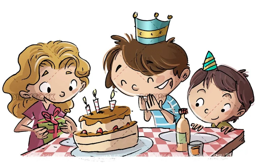 Children celebrating a birthday at the table with cake with isolated background