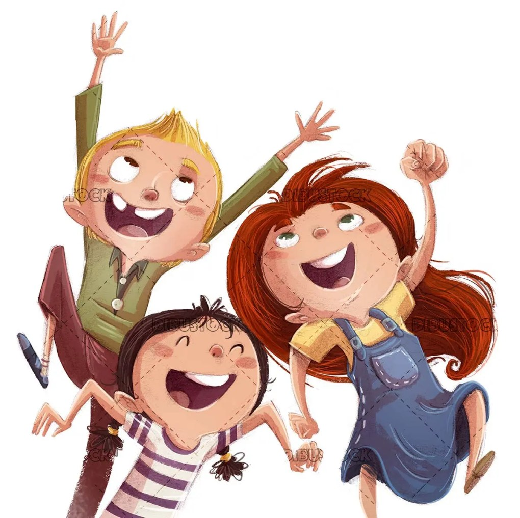 Children jumping for joy with isolated background