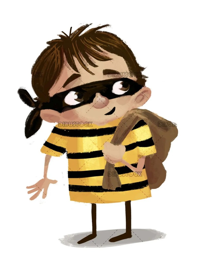 boy in robber costume