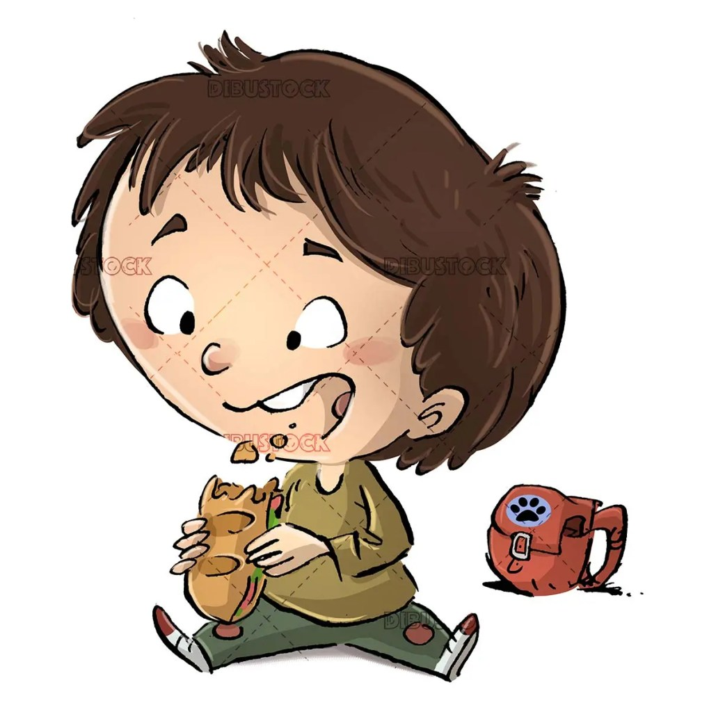 boy sitting with his backpack eating a sandwich
