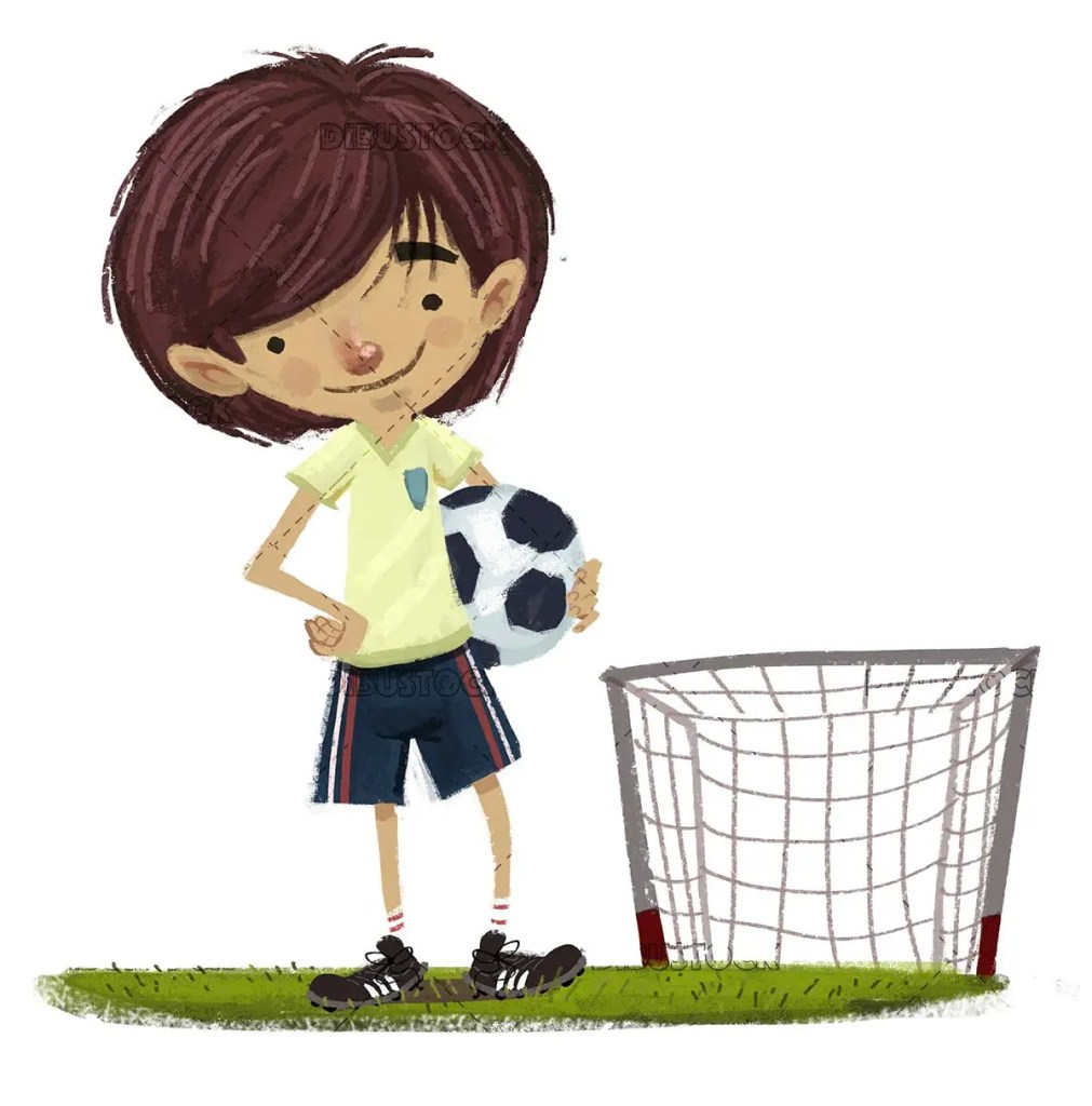 boy soccer player with soccer ball and goal behind