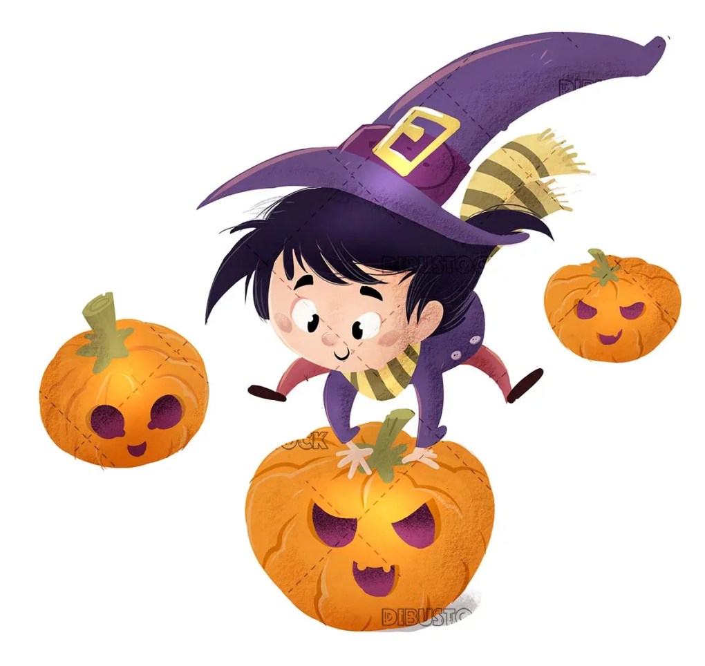 funny witch girl jumping some pumpkins isolated