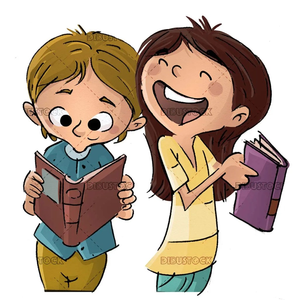 girl and boy laughing while reading a book