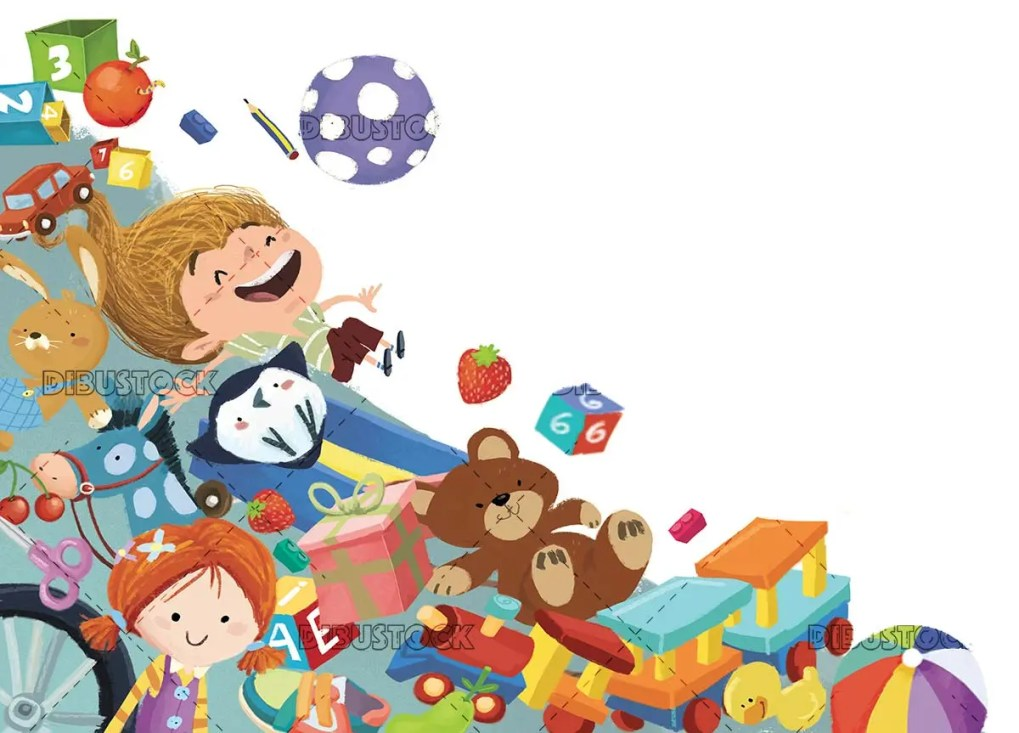 girl falling into many gifts and toys on isolated background