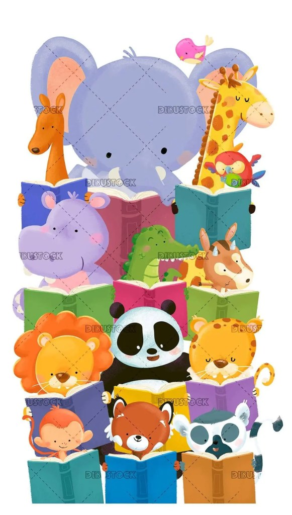 group of jungle animals reading happy books