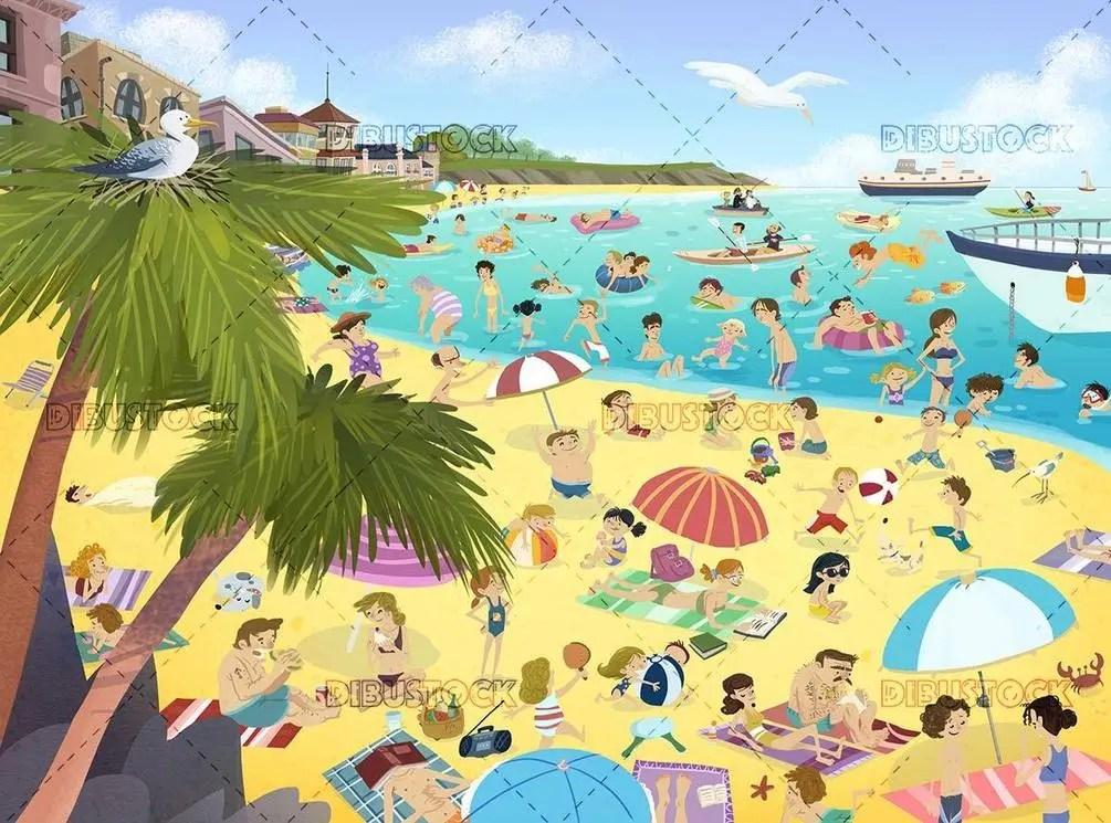 Summer scene with crowd enjoying a beach day