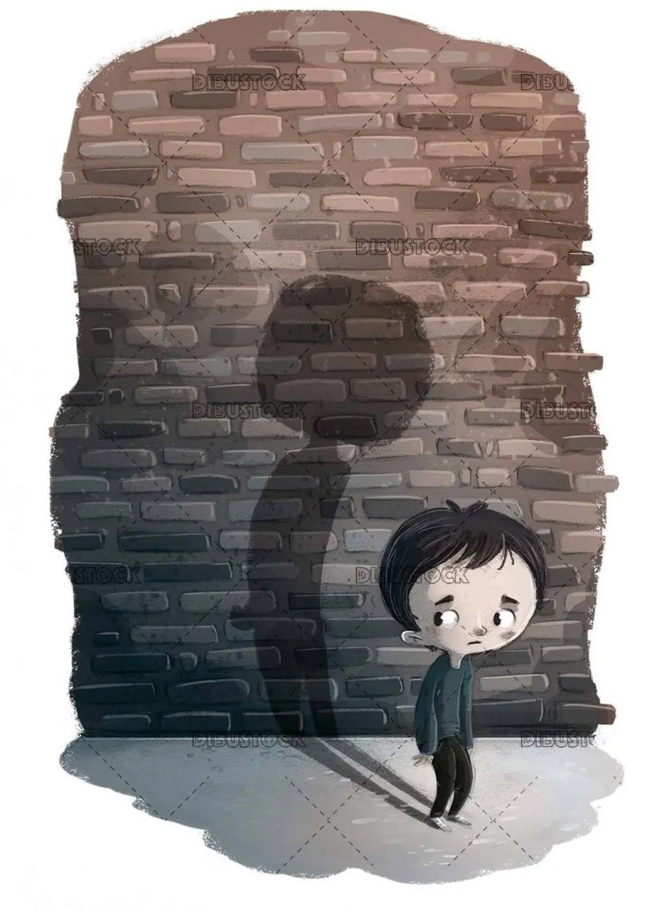 sad and depressed boy with his shadow on bricks background